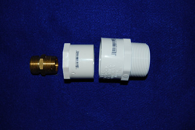 Converting a garden hose discharge to a 1 1/2 discharge. Parts need:  1. Brass 3/4 male garden hose to 3/4 male adapter 2. 3/4 inch threaded female to 1 1/2 slip PVC adapter 3. 1 1/2 inch slip to 1 1/2 inch male threaded adapter