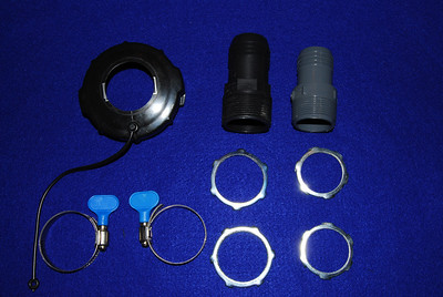 These are the parts needed to connect either a 1 1/2 or 1 1/4 hose to a gray water tote.  The parts are: 1. One 1/2 inch hose PVC adapter (Black) 2. One 1 1/4 inch hose adapter you will need  3. Hose adapter 4. Two 1 1/2 or 1 1/4 electrical conduit lock nuts 5. One 4 inch gray tote cover in which you have to bore the appropriate size hole.