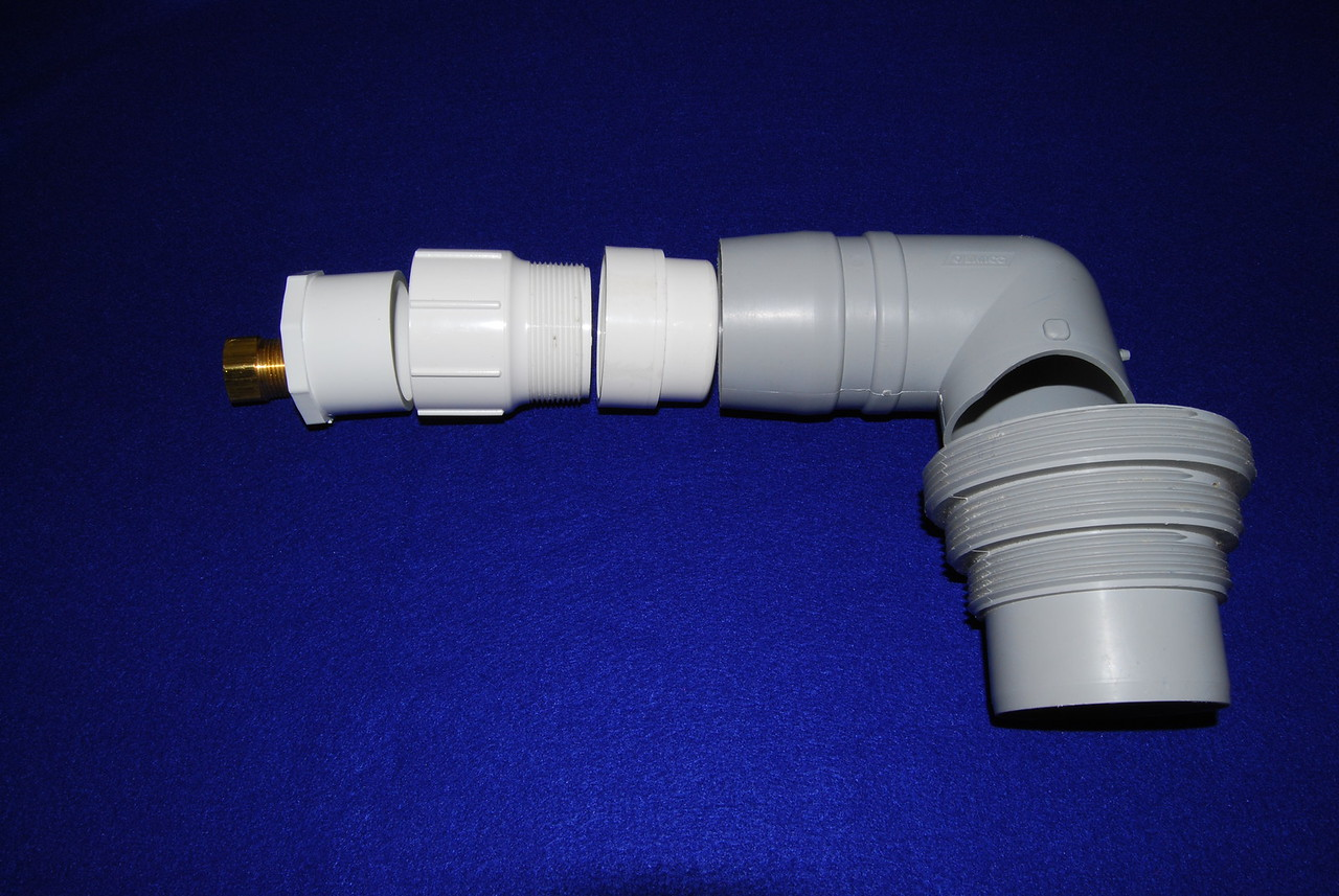 """An alternative to the garden hose sewer adapter is to modify this larger sewer drain connector (light gray """"L"""" shaped).  However, it was designed to be connect to the large RV gray water hoses so it has to be adapted for the garden hose.  In addition to the sewer drain connector, the part are: 1. One 2 inch drain and female threaded PVC coupler Note you will have to file down this connector so that it fits in the sewer connector 2. One 2 inch male threaded female slip joint PVC coupler 3. One 2 inch male slip joint to 3/4 inch female threaded PCV coupler 4. One 3/4 inch to hose brass adapter"""