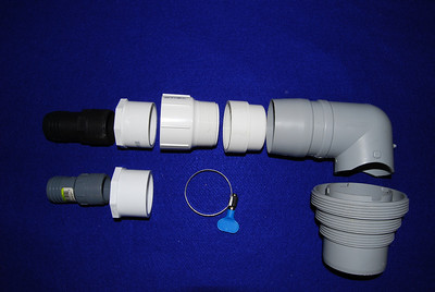 "If you are planning to drain your wastewater to the CG sewer you will need the sewer drain connector (light gray ""L"" shaped).  However, it was designed to be connect to the large RV gray water hoses so it has to be adapted for either 1 1/4 or 1 1/2 inch hoses.  In addition to the sewer drain connector, the part are: 1. One 2 inch drain and female threaded PVC coupler Note you will have to file down this connector so that it fits in the sewer connector 2. One 2 inch male threaded female slip joint PVC coupler 3. One 2 inch male slip joint to 1 1/2 inch female threaded PCV coupler 4. One 1 1/2 inch hose PVC connector (Black) 5. One hose clamp  If you are using 1 1/4 inch hose then replace items 3 and 4 above with: 1 . One 2 inch male slip joint to 1 1/4 inch female threaded PCV coupler 4. One 1 1/4 inch hose PVC connector (Gray)"