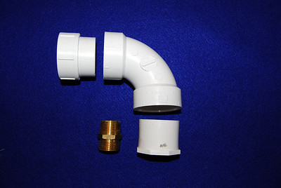 You can build your own adapter with these parts: 1. 1 1/2 inch threaded female PVC adapter 2. 1 1/2 inch PVC elbow 3. 1 1/2 inch with a 3/4 inch female PVC adapter 4. 3/4 inch male to garden hose brass adapter