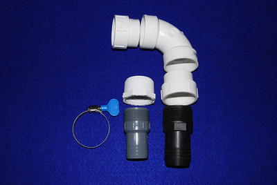 If you are unhappy with the garden hose you can use either a 1 1/4 or 1 1/2 inch drainage hose.  The parts for the 1 1/2 inch hose adapter are: 1. Two  1 1/2 inch threaded female PVC adapters 2. One 1 1/2 inch PVC elbow 3. One 1. 1/2 inch hose PVC adapter (Black) 4. One hose clamp For a 1 1/4 inch hose adapter you will need in addition 1. One 1 1/2 male to 1 1/4 female PVC adapter 2. One 1 1/4 hose PVC adapter (gray)