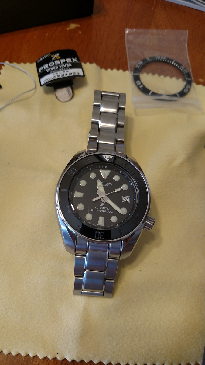 Excellent condition Seiko Sumo SBDC031 with DLW Ceramic Stealth