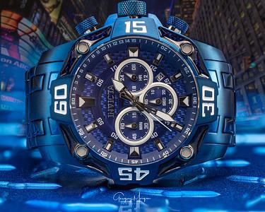 Blue Watch face closeup