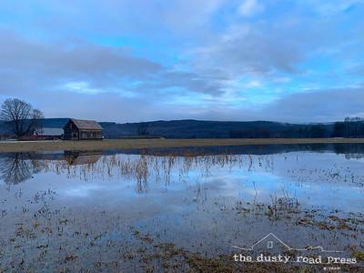 Winter Lake at the Barn