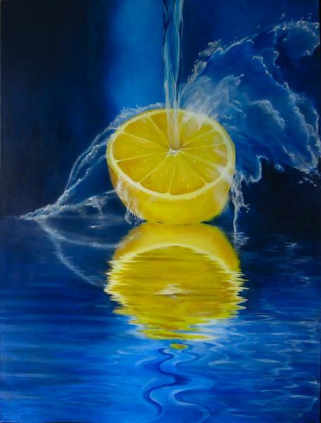 """Splash of Lemon"" (acrylic) by Robin  Harris"