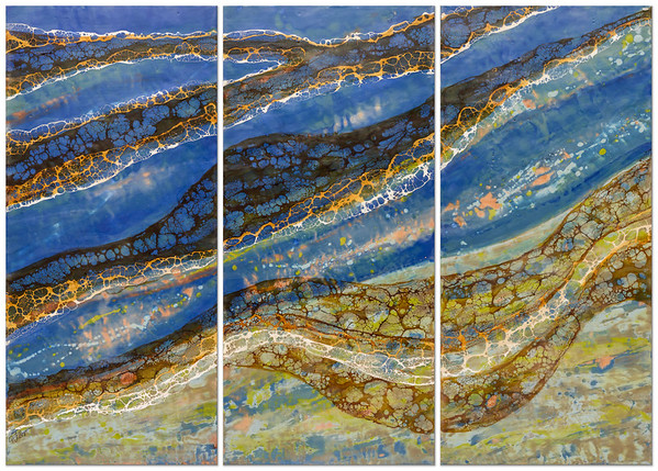 """Sound Waves: Flow"" (encaustic & shellac) by Joy Hagen"