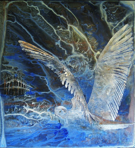 """Stormbird"" (acrylic on raw linen) by Pam Douglas"