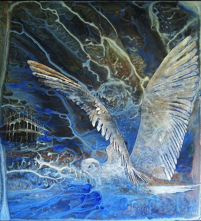 """Stormbird"" (acrylic on raw linen) by Pam Douglas"