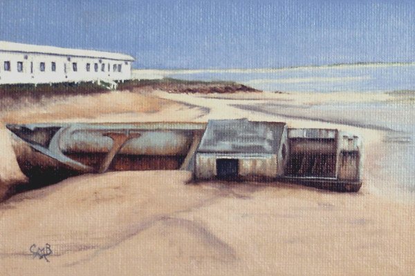"""Wreck at Race Point, MA"" (oil) by Carmen Badeau"