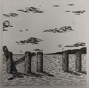 """Pilings"" (polyester plate litho print) by Katherine Ambrose"