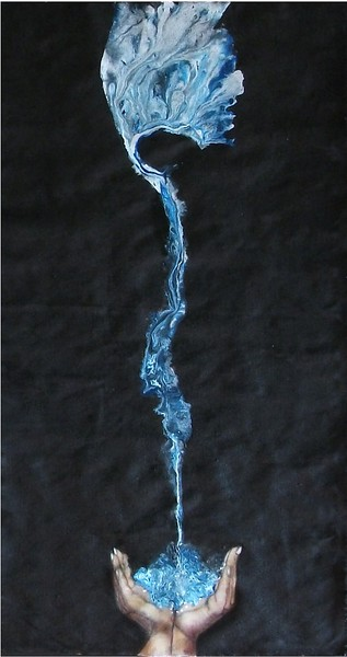 """""""Water Blessing"""" (acrylic on raw linen) by Pam Douglas"""