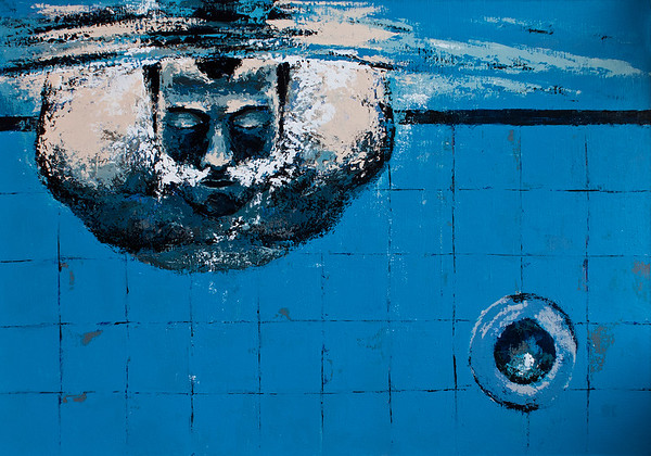 """Swimming pool"" (acrylic on canvas) by Olga Krokhicheva"