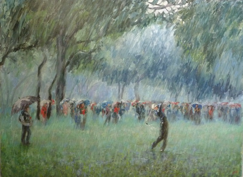 """Golf in the rain"" (oil on canvas) by Nadya  Milos"