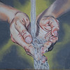 """Hands Catching Water"" (oil on canvas) by Rebecca Drummond"