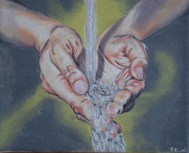 """""""Hands Catching Water"""" (oil on canvas) by Rebecca Drummond"""