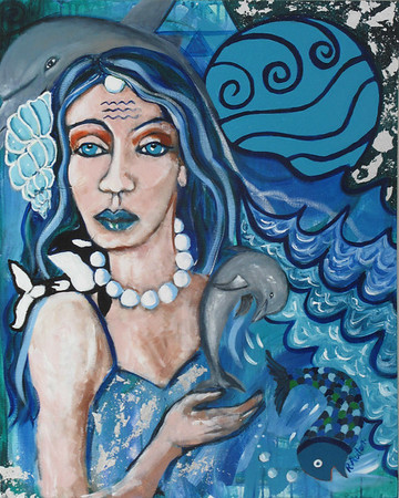 """Oceanic Goddess"" (acrylics and silver leaf) by Rachel Auton"