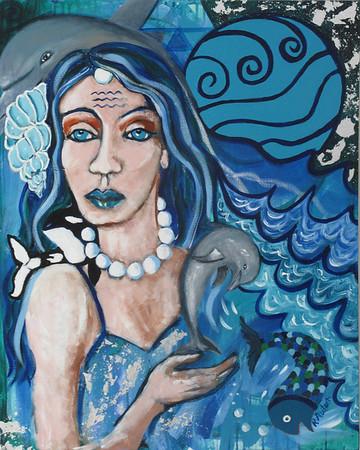 """""""Oceanic Goddess"""" (acrylics and silver leaf) by Rachel Auton"""