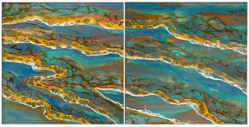 """Sound Waves"" (encaustic & shellac) by Joy Hagen"