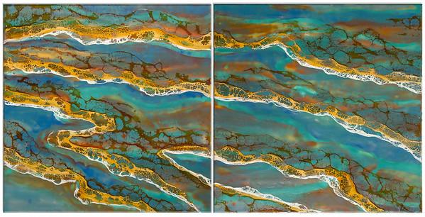 """Sound Waves"" (encaustic & shellac) by Joy Hagen"