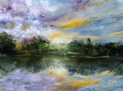 """Florida Sunrise"" (oil/finger painting) by Olesya Sytnyk"