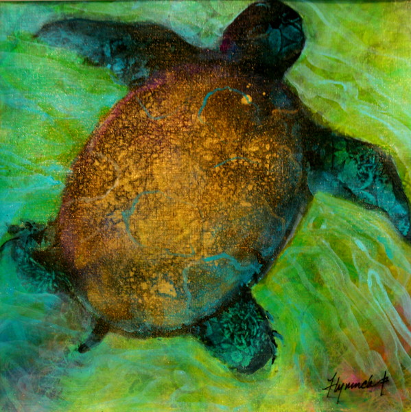 """Swimming"" (mixed media) by Lynn Chatman"