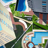 """Sao Paulo Pools"" (acrylic on canvas) by Toni Silber-Delerive"