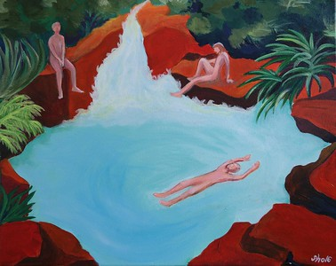 """Primeval Pond"" (acrylic on canvas) by Sho Kang"