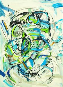 """Source of Life"" (oil, coal, canvas, wooden base) by Olya Kartavaya"