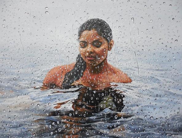 """Trapped"" (acrylic on canvas) by Valdengrave Okumu"