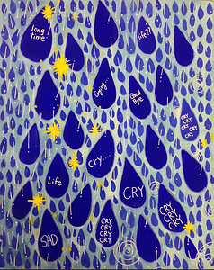 """A cry Piece"" (mixed media on paper) by Yuko Kyuotku"