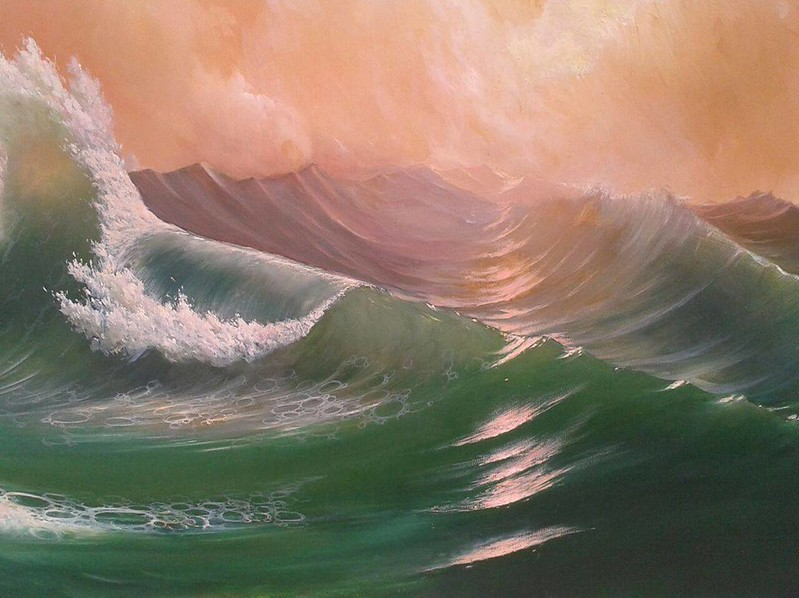 """Waves under sunset"" (oil on canvas) by Dmitri Ciornii"