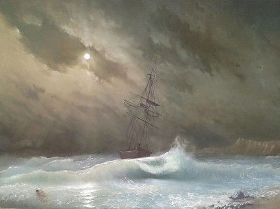 """Ship in the silent night"" (oil on fiberboard) by Dmitri Ciornii"