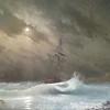 """Ship in the silent night"" (oil on fiberboard) by Dmitri Ciornii"
