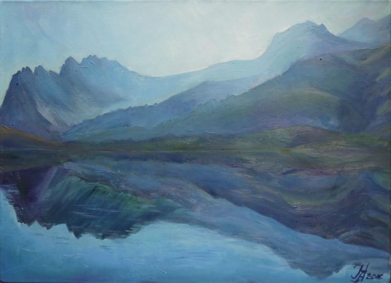 """Blue water"" (oil on canvas) by Nadezhda Aristaeva"