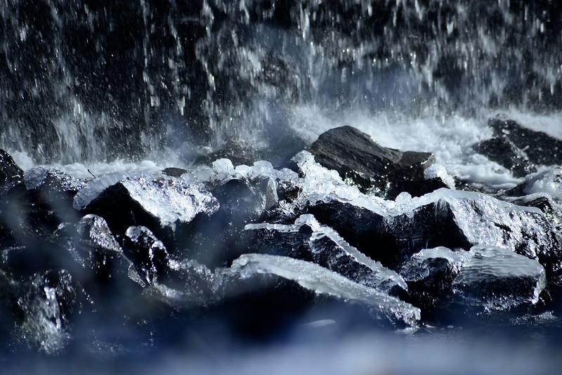 """Waterfall on Black Stones"" (photography) by Andrew Davis"
