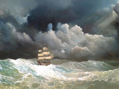 """Storm and clouds"" (oil on canvas) by Dmitri Ciornii"