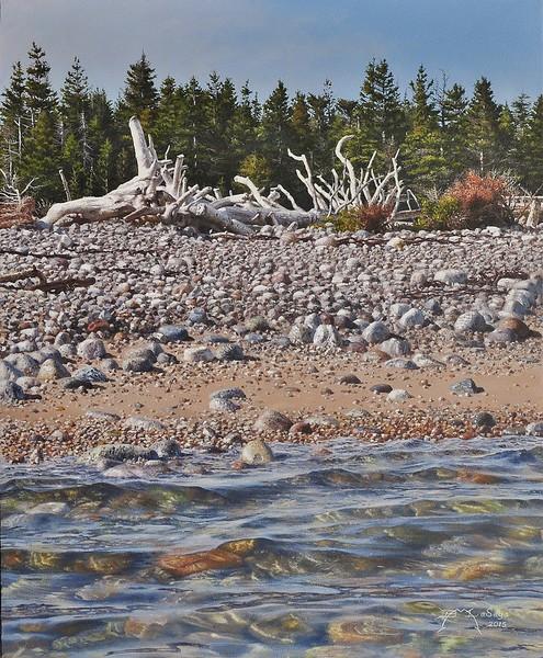 """Beachwood Snag"" (acrylic on wood panel) by Brian LaSaga"