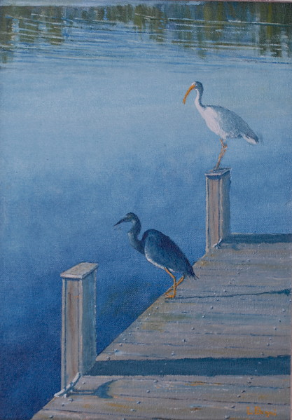 """""""Waterbirds Greet the Morning"""" (oil on canavas) by Louis Degni"""