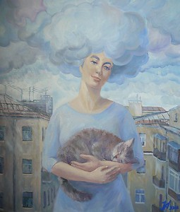 """Saint-Petersburg's rain"" (oil on canvas) by Nadezhda Aristaeva"