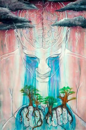 """Brainstorming"" (mixed media-watercolor, pen, acrylic paint marker) by Cynthia Castillo"