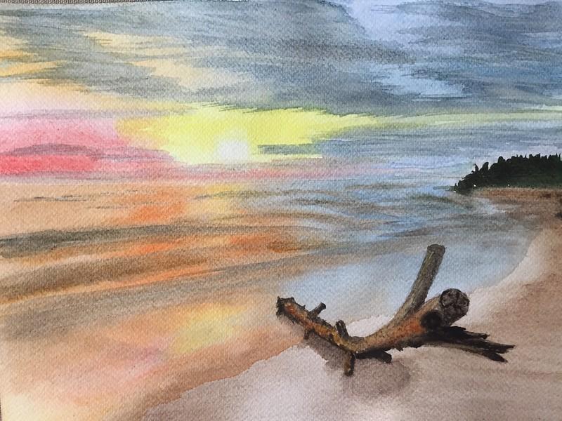 """""""Sunset"""" (watercolor) by Olga Fedorovskaya"""