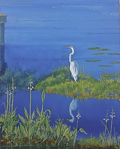 """""""Waiting For The Fish"""" (oil on canvas) by Louis Degni"""