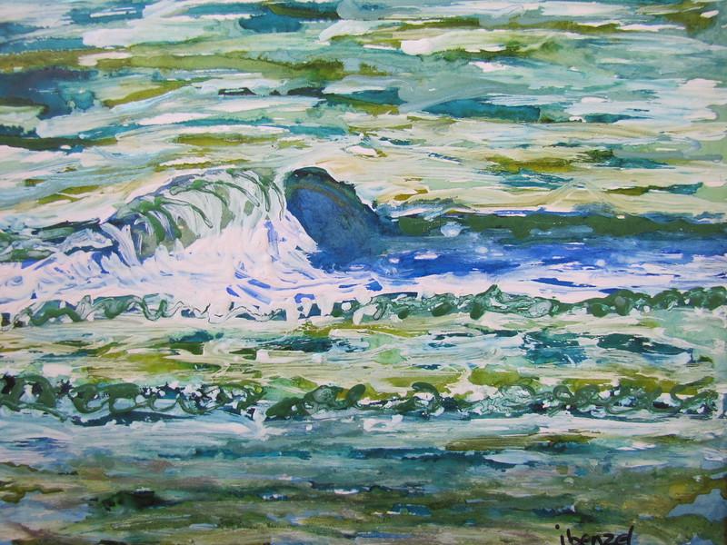 """Let's Climb Thru The Tide"" (mixed media- alcohol inks, Luminaire, acrylics) by Ilona Benzel"