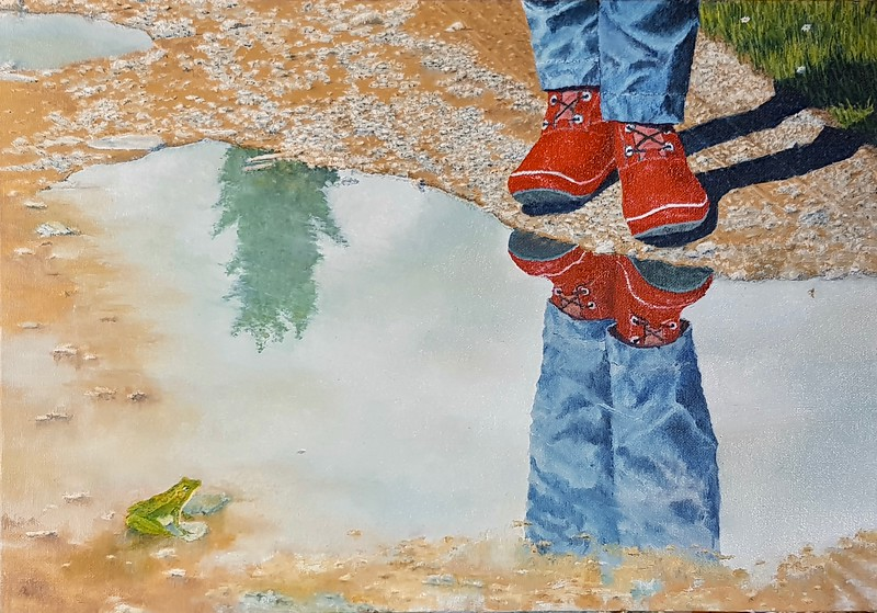 """""""At The Puddle"""" (oil on canvas panel) by Louis Degni"""