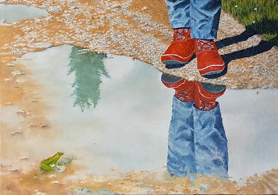"""At The Puddle"" (oil on canvas panel) by Louis Degni"