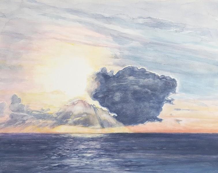 """""""Ocean Cloud"""" (watercolor) by Cena O'Brien"""