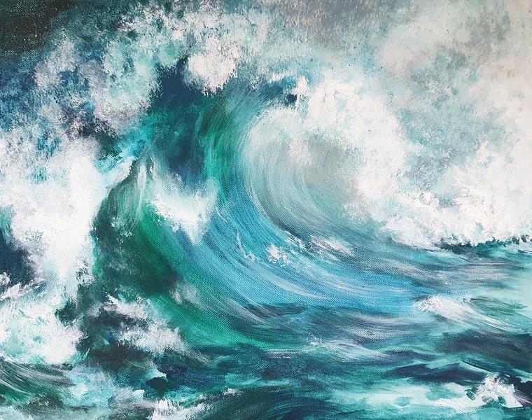 """""""Stormy sea"""" (acrylic) by Nadezhda Ryaguzova"""