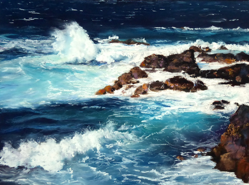 """Sunny day at Ho´okipa"" (pastel) by Dolores Saul"