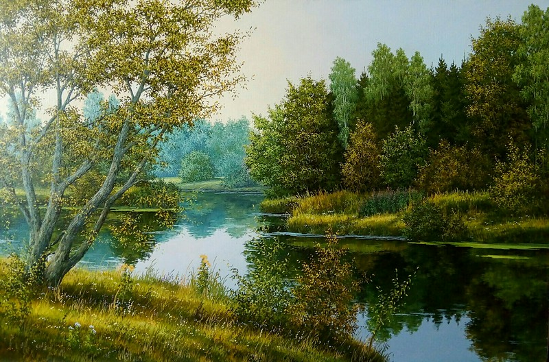 """""""Bank of the river"""" (oil on canvas) by Ina Kuchynskaya"""